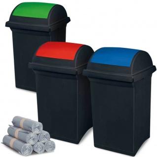 3 Abfallbehälter mit Schwingdeckel blau, grün, rot, 50 l + 300 Müllsäcken á 100 l