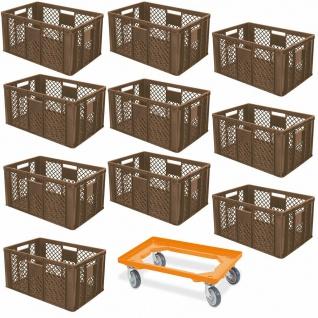 10 Euroboxen, 600x400x320 mm, lebensmittelecht, braun + GRATIS Transportroller