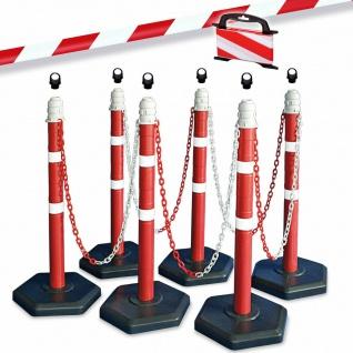 Kettenpfosten-Set, 6 Ständer, 10 m Kette, 6x Ösen, 25 m Absperrband rot/weiß