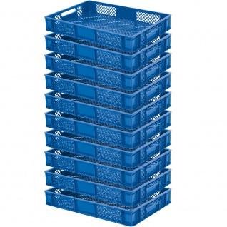 10 Stapelkorb / Euroboxen, LxBxH 600 x 400 x 90 mm, lebensmittelecht, blau