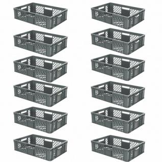12 Euroboxen / Bäckerkisten, LxBxH 600x400x150 mm, PE-HD, grau, lebensmittelecht