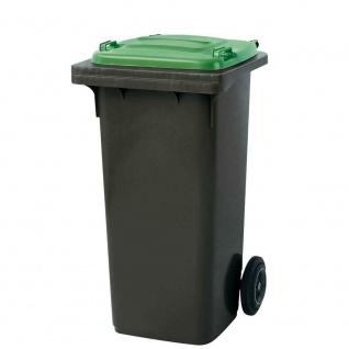 120 Liter MGB, Mülltonne Abfalltonne, grau mit grünem Deckel