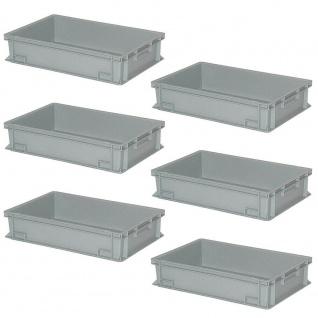 6 Eurobehälter / Stapelbehälter, LxBxH 600 x 400 x 150 mm, Inhalt 27 Liter, grau
