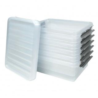6 Klarsichtboxen mit Clipdeckel, transparent, LxBxH 500x400x180 mm, 25 Liter, PP