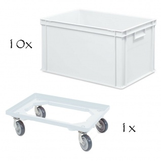 10 Euroboxen mit Griffleisten, LxBxH 600x400x320 mm, weiß + 1 Transportroller