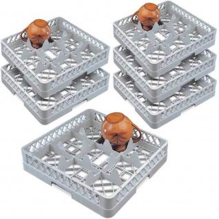 6x Spülkorb für Geschirr und Gläser, LxB 500 x 500 mm, 9 Fächer, grau
