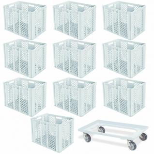 10 Euroboxen, 600x400x410 mm, lebensmittelecht, weiß + GRATIS Transportroller