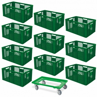 10 Euroboxen, 600x400x320 mm, lebensmittelecht, grün + GRATIS Transportroller