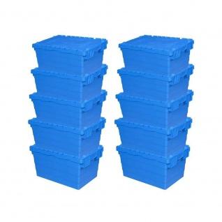 10er Set ALC Mehrwegbehälter 600x400x320 mm, blau, mit Klappdeckel
