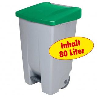 Tretabfalleimer mit Rollen, Inhalt 80 Liter, BxTxH 420 x 490 x 740 mm, Korpus grau, Deckel grün