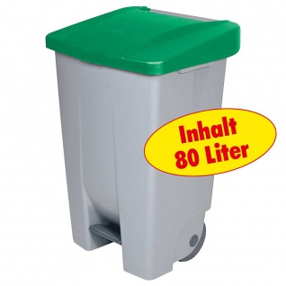 Tretabfalleimer mit Rollen, Inhalt 80 Liter, HxBxT 740x490x420 mm, Korpus grau, Deckel grün