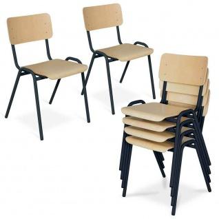 6-teiliges Stapelstuhl-Set, Gestell schwarz, Sitz/Lehne aus Buche-Schichtholz