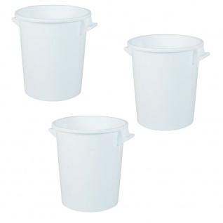 3x 75 Liter Kunststofftonne, lebensmittelecht, weiß (ohne Deckel)