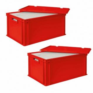 2x 35 Liter Thermobox aus EPS in Eurobox 600x400 mit Deckel, rot