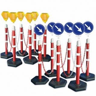 Kettenpfosten-Set, 12 Kettenständer, 22 m Kette, 6x Blinklampe, 6x Leitschilder