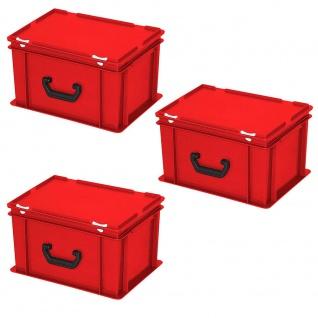 3 Aufbewahrungskoffer/Kunststoffkoffer, LxBxH 400x300x230 mm, 21 L, rot, PE-HD