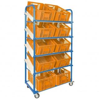 Schrägbodenwagen, 5 Ebenen, 2 Lenk-+ 2 Bockrollen, 10 Kisten, 600x400x240mm, orange