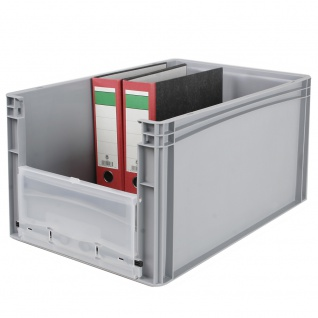 Eurobehälter / Stapelbehälter mit Eingrifföffnung und Riegelklappe, LxBxH 600 x 400 x 320 mm, grau - Vorschau 3
