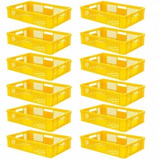 12 Euroboxen / Bäckerkisten, LxBxH 600x400x150 mm, PE-HD, gelb, lebensmittelecht