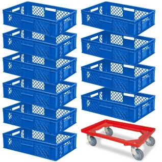 10 Euroboxen, 600x400x150 mm, blau, lebensmittelecht + GRATIS Transportroller