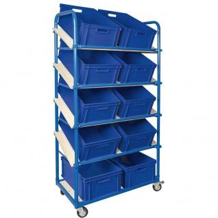 Schrägbodenwagen, 5 Ebenen, 4 Lenkrollen, mit 10 Kisten 600x400x220 mm, blau
