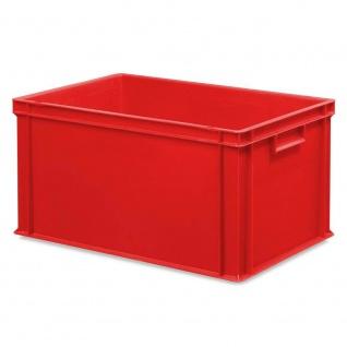 10x Behälter, LxBxH 600x400x320 mm + 10 Scharnierdeckel + 1 Transportroller, rot