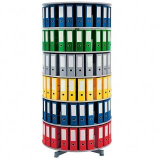 Ordnerdrehsäule, 6 Etagen für bis 180 breite DIN-Ordner, grau, HxØ 228 x 100 cm