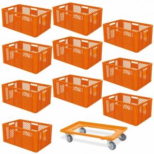 10 Euroboxen, 600x400x320 mm, lebensmittelecht, orange + GRATIS Transportroller