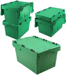 5x Mehrwegbehälter mit Deckel, grün, verplompbar, LxBxH 600x400x350 mm, 58 Liter
