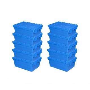 10er Set ALC Mehrwegbehälter 600x400x250 mm, blau, mit Klappdeckel