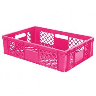 10x Bäckerkiste, 600x400x150 mm, lebensmittelecht, pink + GRATIS Transportroller