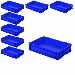 8 Euroboxen / Stapelkisten mit 2 Griffleisten, LxBxH 600 x 400 x 120 mm, blau