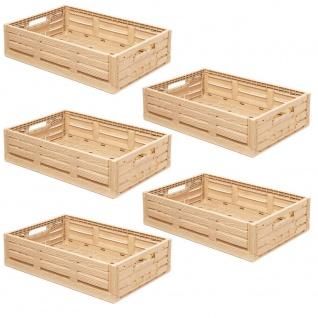 5 Klappboxen, Holzdekor, LxBxH 600x400x165 mm, 33 L, Gewicht 1, 5 kg, Trgkf 15 kg