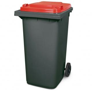 240 Liter MGB, Mülltonne Abfalltonne, grau mit rotem Deckel