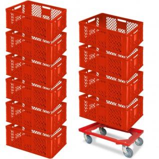 10 Euroboxen, 600x400x240 mm, lebensmittelecht, rot + GRATIS Transportroller