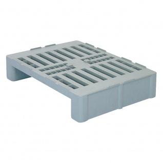 Hygienepalette H2, LxBxH 800 x 600 x 160 mm, Oberdeck durchbrochen, 100% PE-Kunststoff, grau
