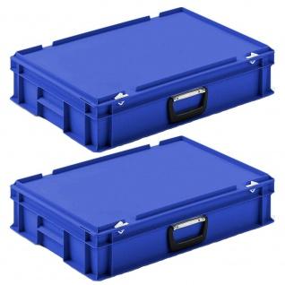 2 Eurokoffer / Gerätekoffer, stapelbar, LxBxH 600x400x130 mm, PP, blau