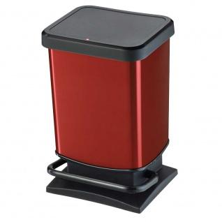 Tretabfalleimer, Inhalt 20 Liter, HxBxT 457 x 266 x 293 mm, schwarz/rot metallic - Vorschau