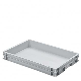 Stapelbehälter / Kunststoffkiste mit 2 Griffleisten, LxBxH 600 x 400 x 75 mm, grau, Boden/Wände geschlossen