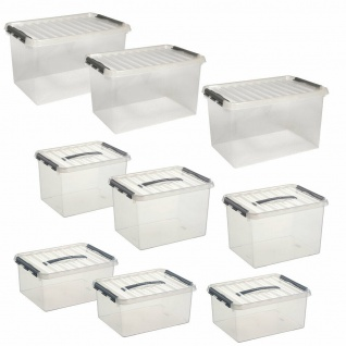 9 Klarsichtboxen mit Clipdeckel, 3x 15 Liter, 3x 22 Liter, 3x 62 Liter, PP
