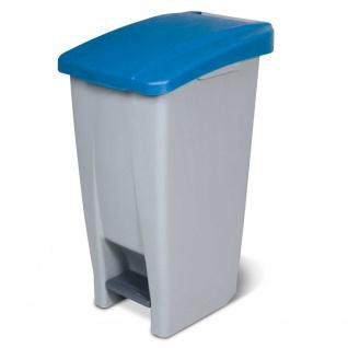 Tretabfalleimer mit Rollen, Inhalt 60 Liter, HxBxT 700 x 380 x 490 mm, Korpus grau, Deckel blau