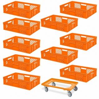 10 Euroboxen, 600x400x150 mm, lebensmittelecht, orange+ GRATIS Transportroller