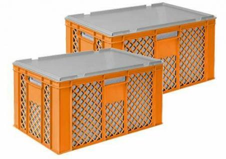2x 35 Liter Thermobox aus EPS in Eurobox durchbr. 600x400x320, orange + Deckel