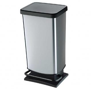 Tretabfalleimer, Inhalt 40 Liter, HxBxT 676 x 295 x 353 mm, schwarz/silbermetallic - Vorschau
