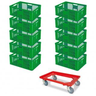 10 Euroboxen, 600x400x240 mm, grün, lebensmittelecht + GRATIS Transportroller