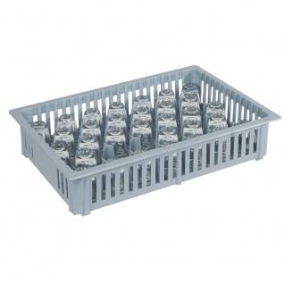 Schnapsglas-Spülkorb mit 33 Fächern, LxBxH 390 x 260 x 80 mm, grau