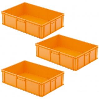 3 Transportbehälter für Backbleche, LxBxH 655x450x190 mm, orange, geschlossen