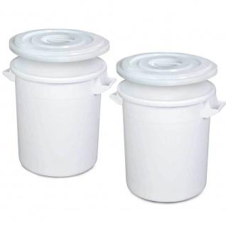 2x Kunststofftonne/Rundtonne 100 Liter mit Deckel, lebensmittelecht, PE-HD, weiß