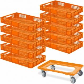 10 Bäckerkiste/Euroboxen, LxBxH 600x400x90 mm, orange +GRATIS Transportroller