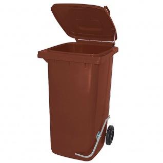 120 Liter Mülltonne mit Fußpedal für handfreie Bedienung, braun